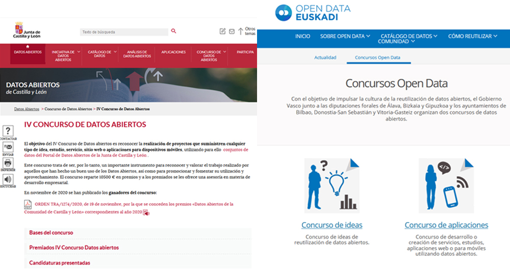 concuros open data Euskadi y Castilla y León