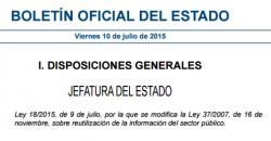 Imagen del Boletín Oficial del Estado sobre la Ley 18/2015, de 9 de julio