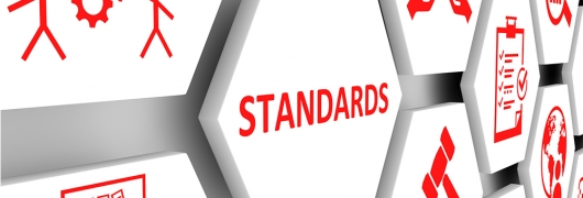 """imosaico con la palabra """"standars"""" e iconos que representan diversos sectores"""