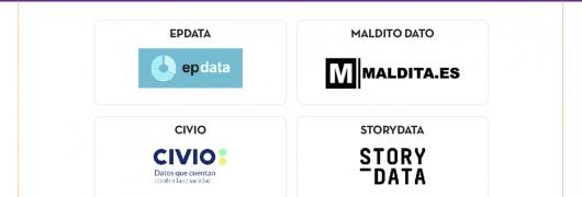 Título: Algunas organizaciones ligadas al periodismo de datos;  incluye los logos de EPDATA, MALDITO DATO, CIVIO y STORYDATA.