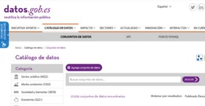 Búsqueda en el catálogo de datos.gob.es por la categoría Transporte